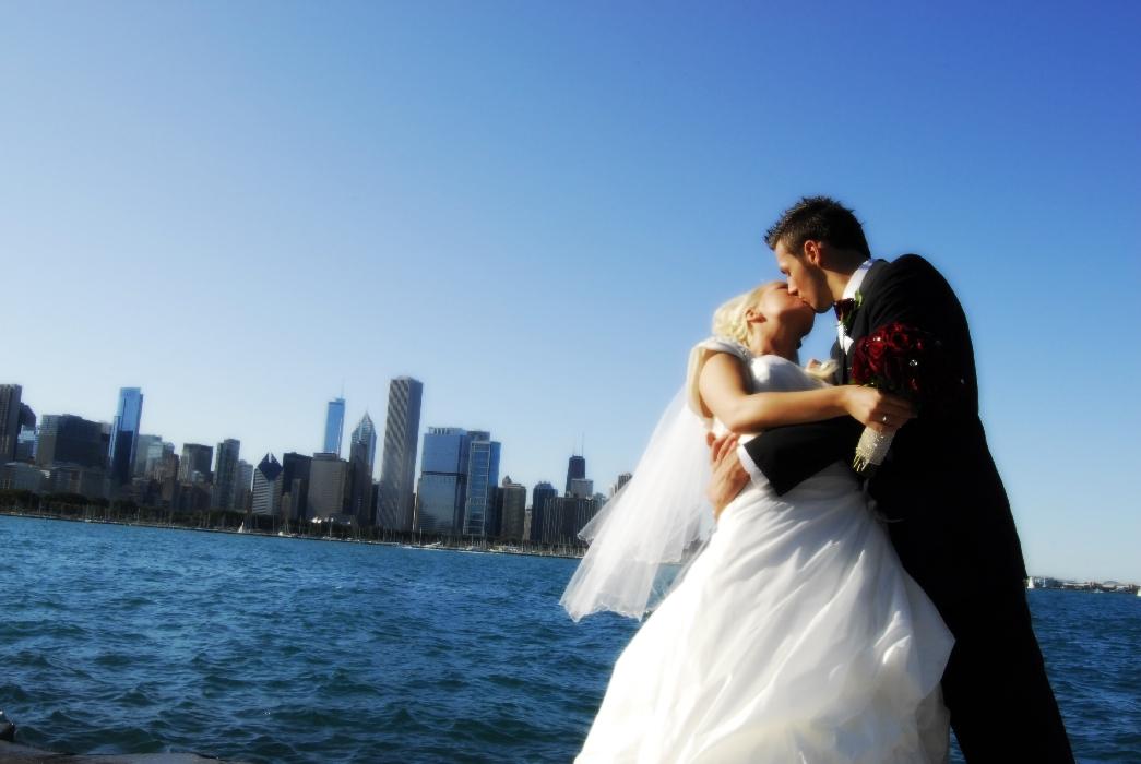 A Chicago Skyline Wedding Photograph Taken From Behind The Adler Planetarium